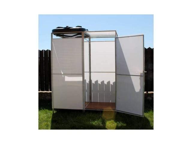 Летний душ Импласт-Престиж с тамбуром (не сварной). Бак: 150 литров (с обогревом и без)